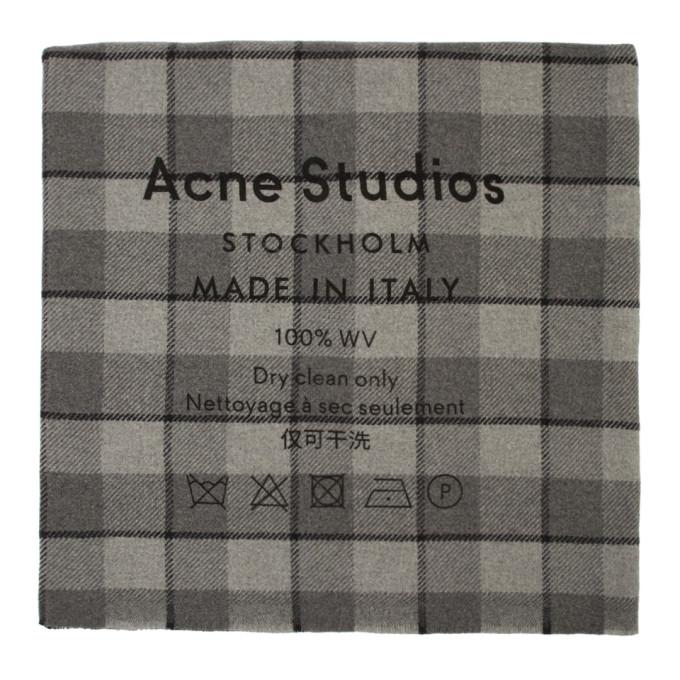 Acne Studios Foulard a carreaux gris Cassiar