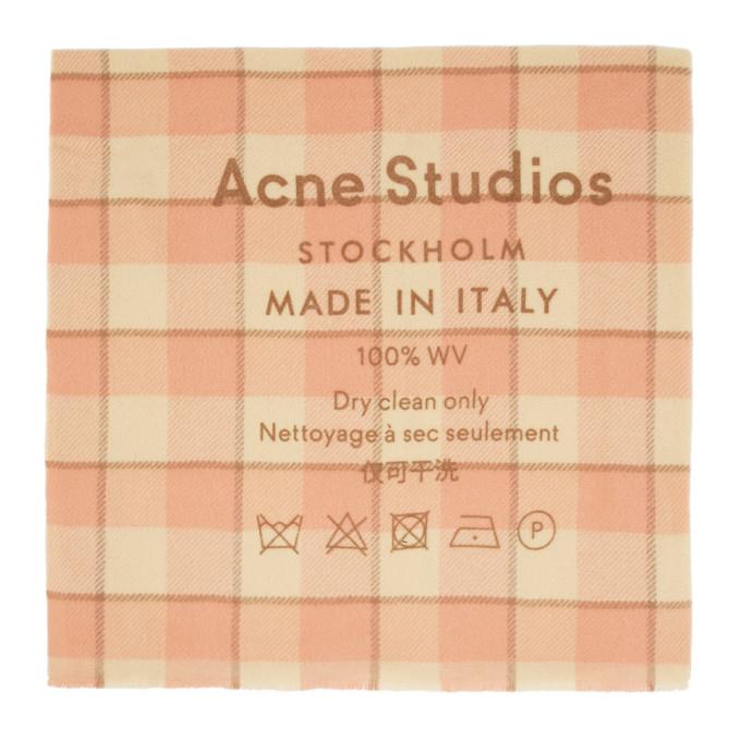 Acne Studios Foulard a carreaux rose Cassiar
