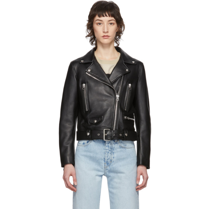 Acne Studios New Merlyn Belted Leather Motorcycle Jacket In Black