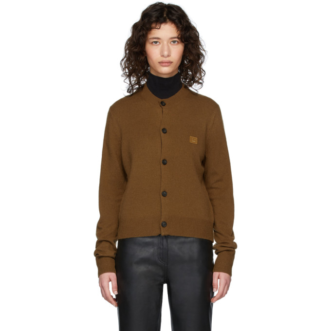 Acne Studios Face Patch V-neck Cardigan In Brown Rust