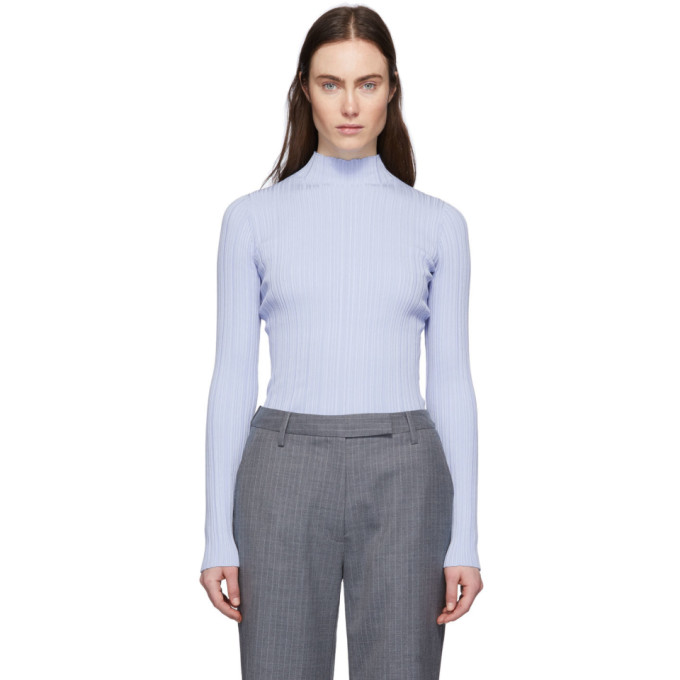 Acne Studios Katina High-neck Ribbed Cotton-blend Sweater In Ice Blue