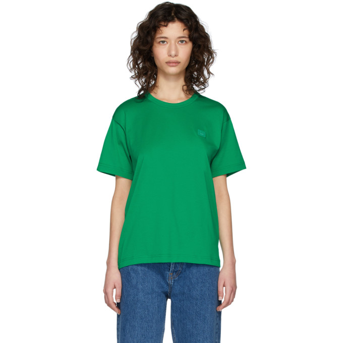 Acne Studios Green Nash Patch T-shirt In Emerald Gre
