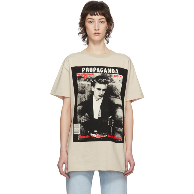 Acne Studios Erice Propaganda Magazine-print Cotton T-shirt In Cold Beige