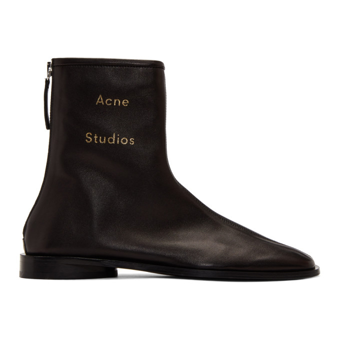 Buy Acne Studios Black Branded Ankle Boots online