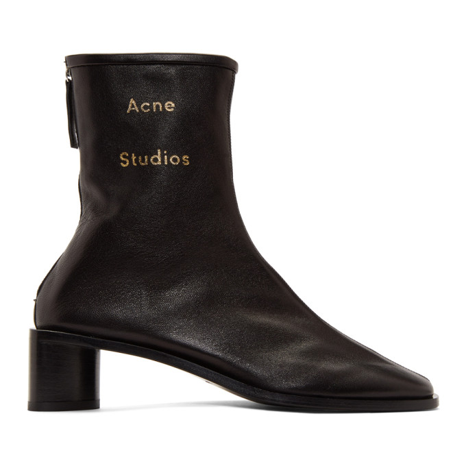 Buy Acne Studios Black Branded Heeled Boots online