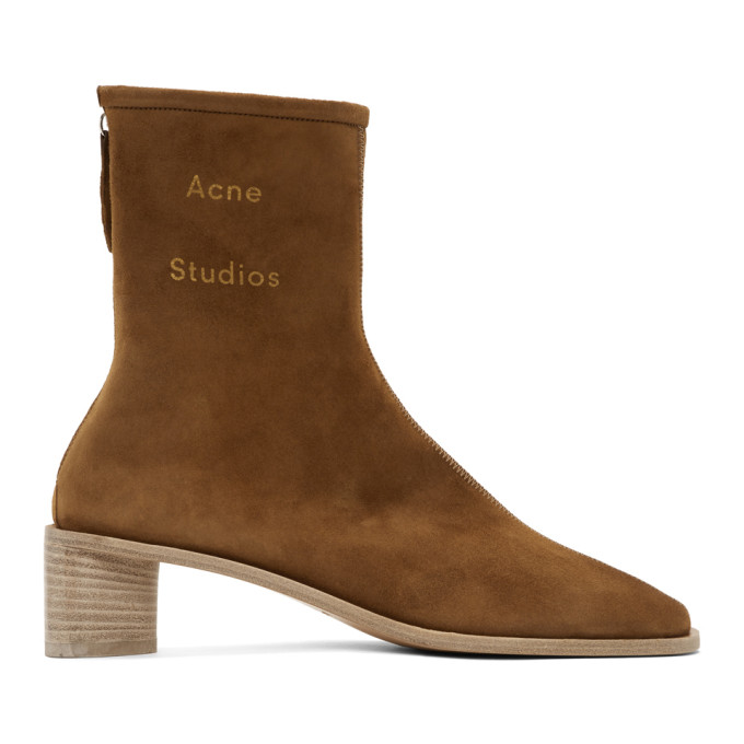 Buy Acne Studios Brown Suede Branded Heeled Boots online