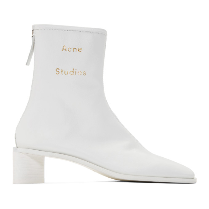 Buy Acne Studios SSENSE Exclusive White Branded Heeled Boots online