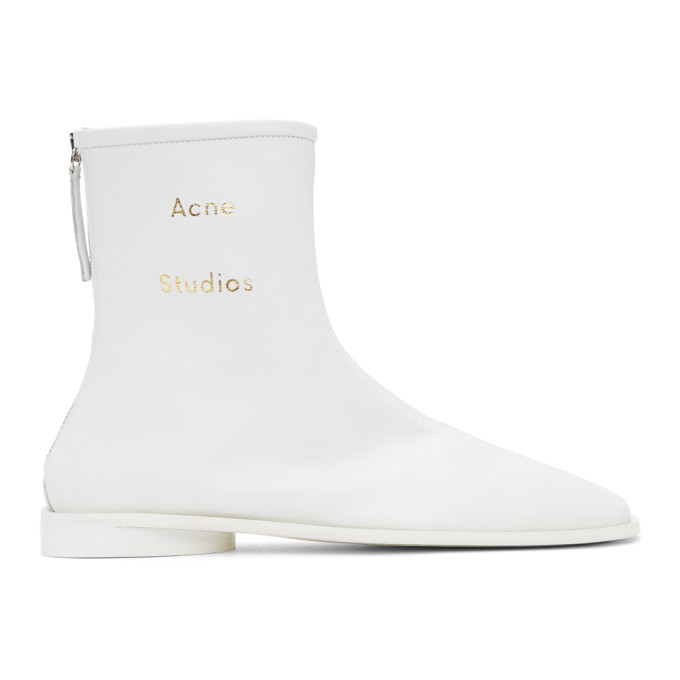 Buy Acne Studios SSENSE Exclusive White Branded Ankle Boots online