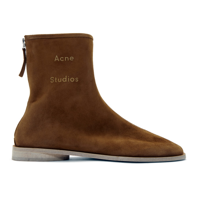 Buy Acne Studios Brown Suede Branded Ankle Boots online