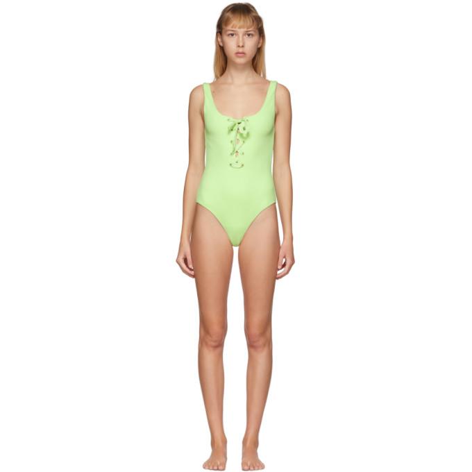 GANNI Maillot de bain une piece vert Textured Tie Front