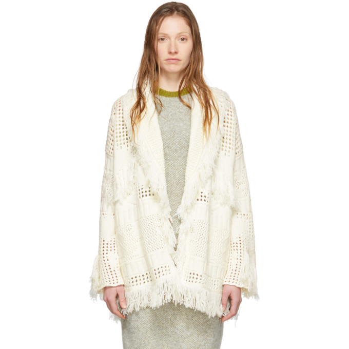 Alanui Off-white Virgin Wool Icon Net Stitched Cardigan In Lapponia White