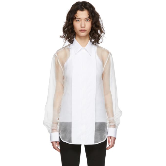 Helmut Lang Chemise transparente blanche Tux
