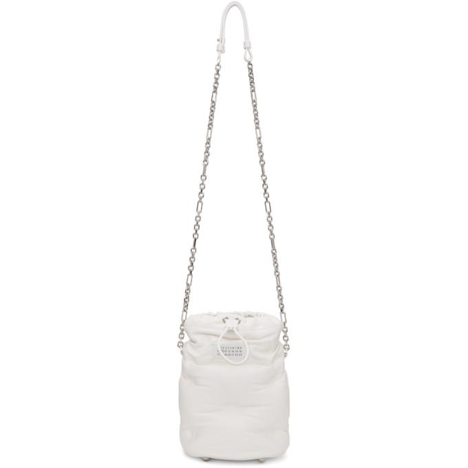 Maison Margiela Glam Slam Leather Bucket Bag In T1003 White