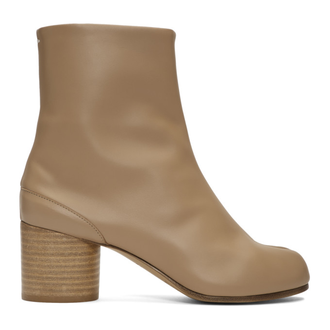 Buy Maison Margiela Beige Mid Heel Tabi Boots online
