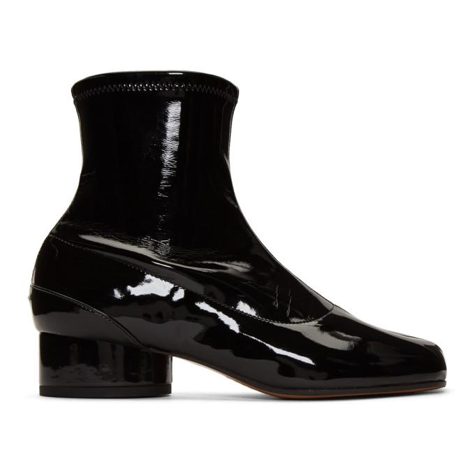 Buy Maison Margiela Black Patent Tabi Ankle Boots online