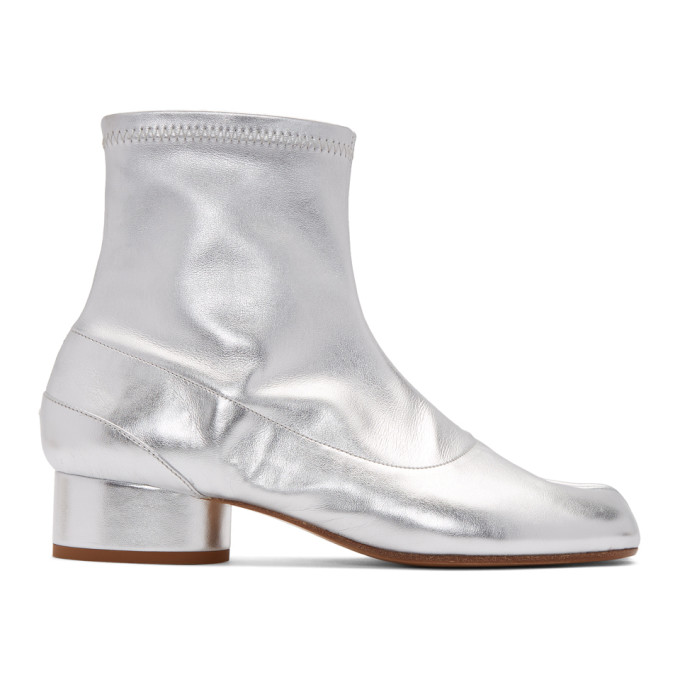 Buy Maison Margiela Silver Stretch Leather Tabi Ankle Boots online