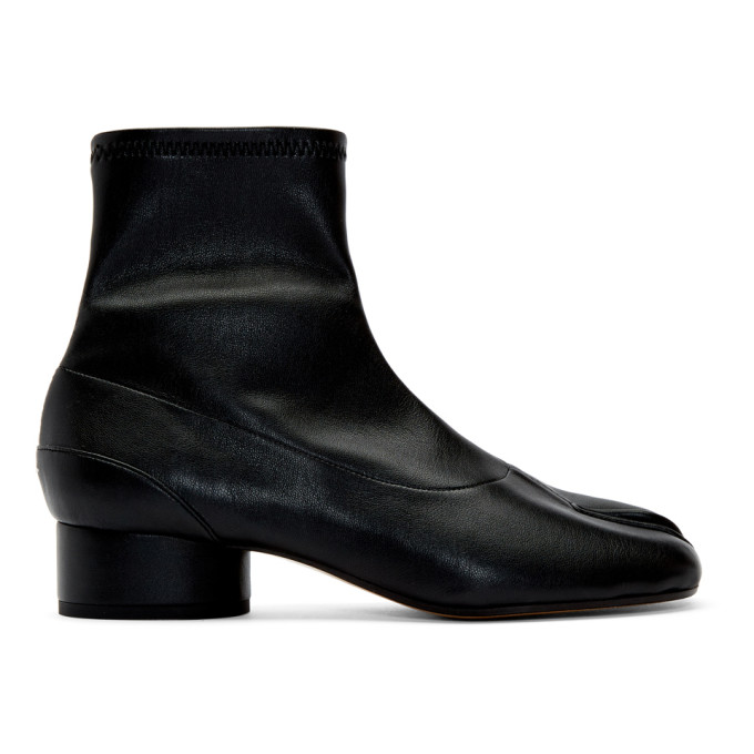 Buy Maison Margiela Black Stretch Leather Tabi Ankle Boots online