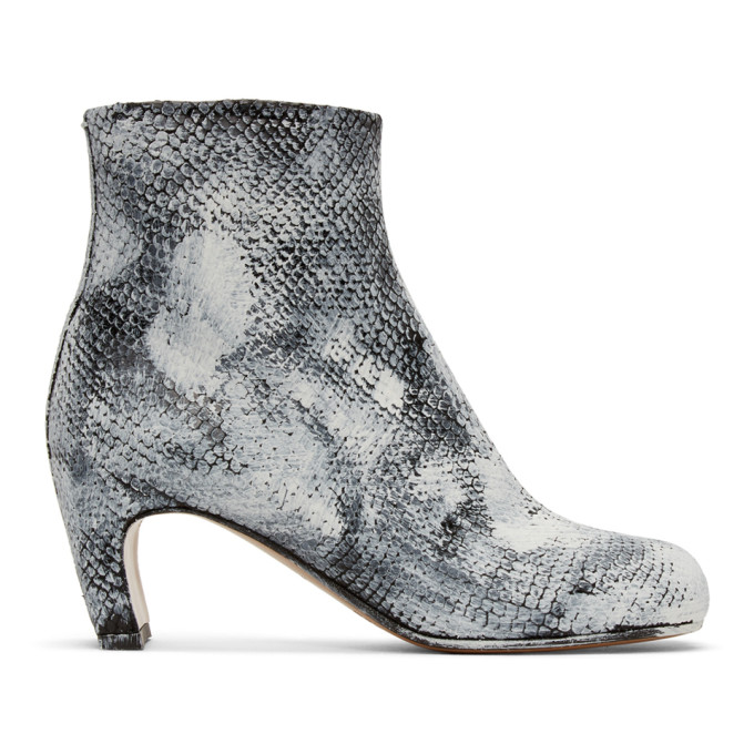 Buy Maison Margiela Black and White Python Painted Tabi Boots online