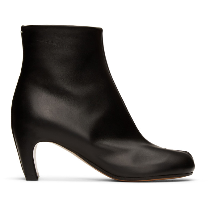 Buy Maison Margiela Black Leather Tabi Ankle Boots online