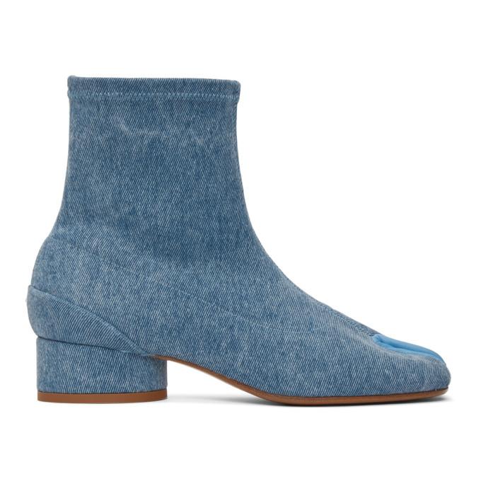 Buy Maison Margiela Blue Denim Low Heel Tabi Boots online