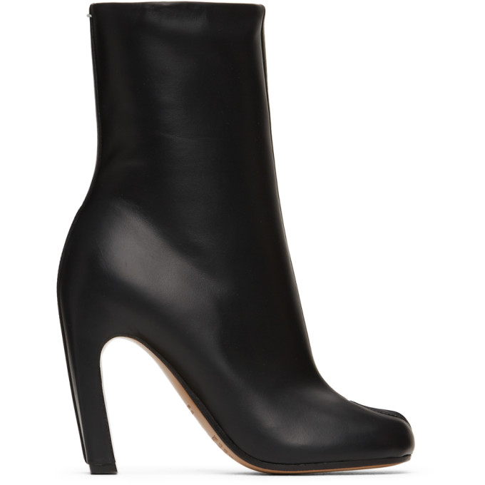 Buy Maison Margiela Black Leather High Tabi Ankle Boots online
