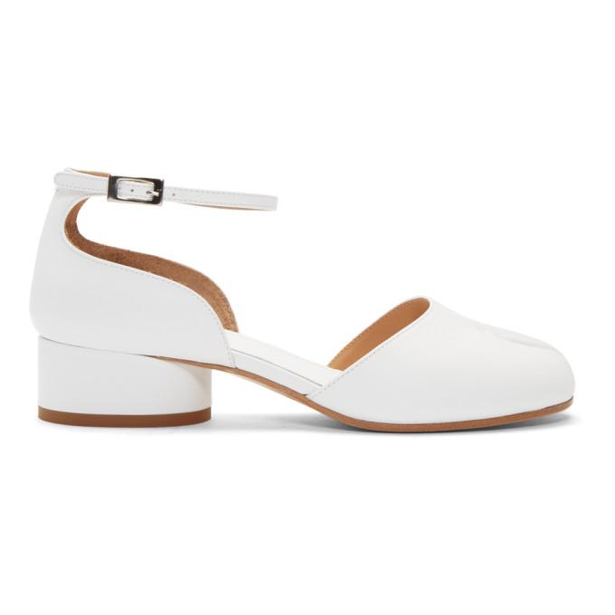 Buy Maison Margiela White Tabi Ankle Strap Heels online