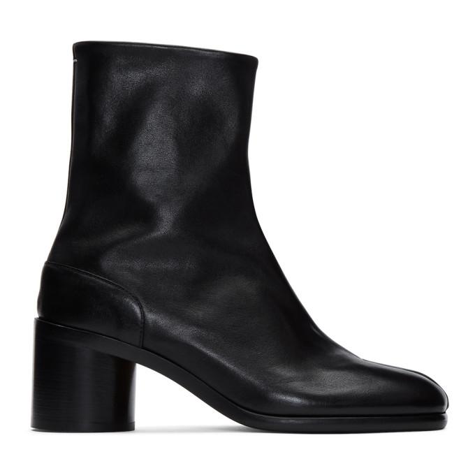 Maison Margiela Tabi Low Heels Ankle Boots In Black Leather