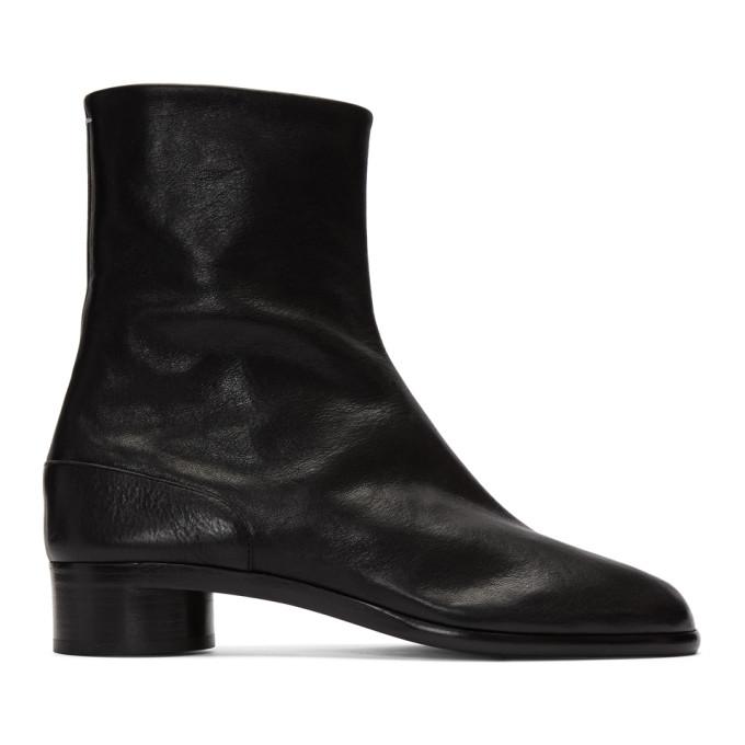 Maison Margiela Tabi Low Heels Ankle Boots In Black Leather In T8013 Black