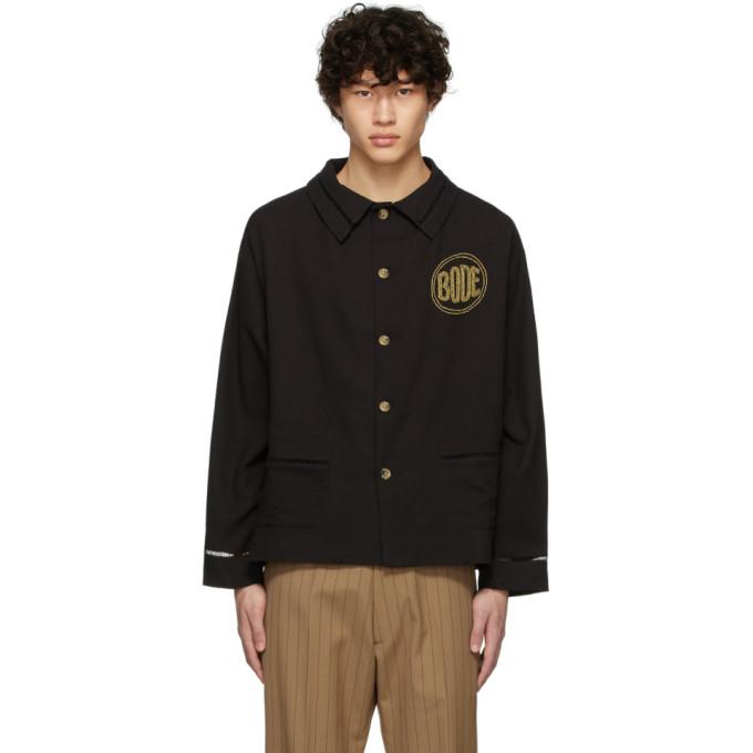 Bode Bode Black Beaded Workwear Jacket