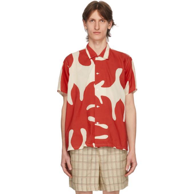 Bode Chemise blanche et rouge Cut-Out Applique