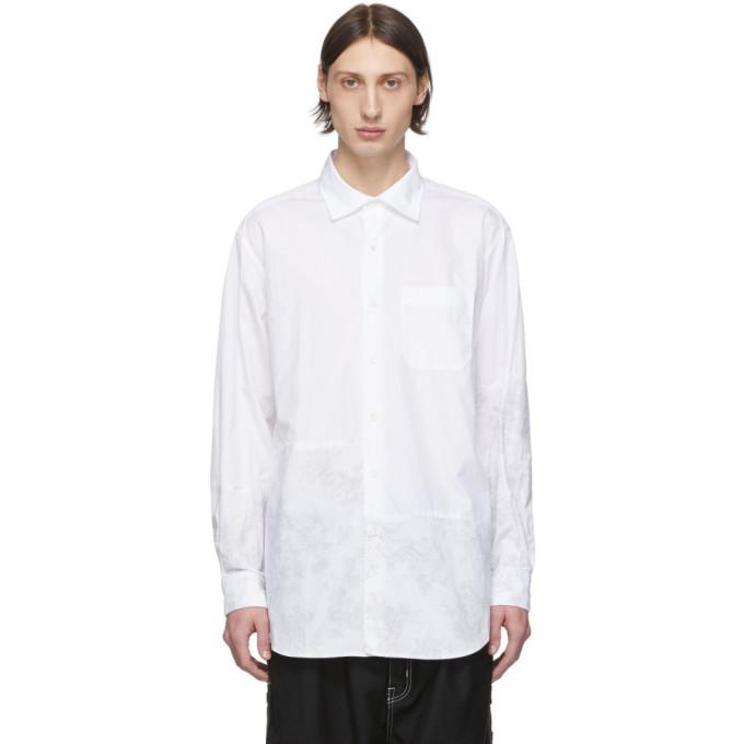 Engineered Garments Chemise en popeline fine fleurie blanche