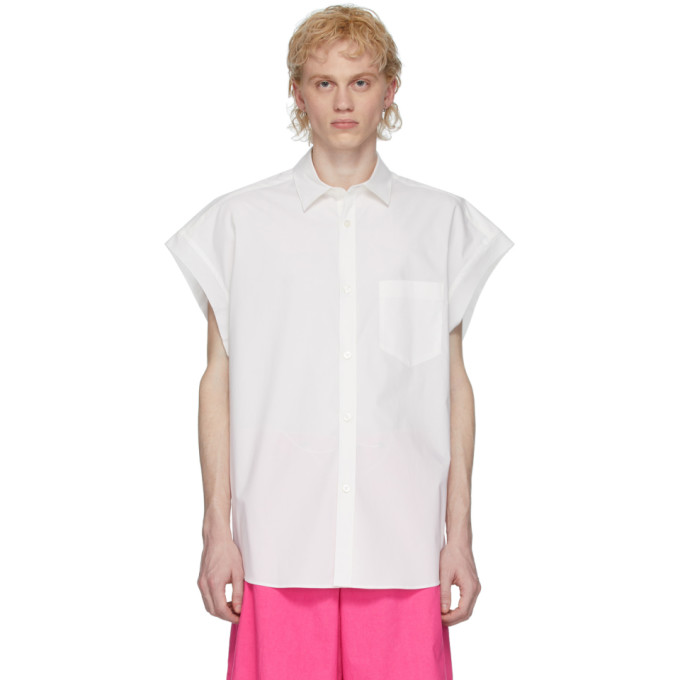 Fumito Ganryu Chemise sans manches en popeline blanche