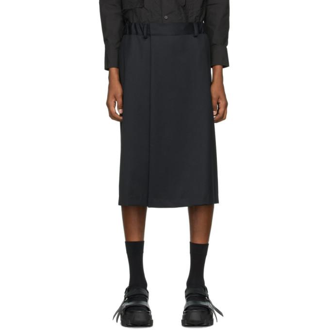 Fumito Ganryu Short en laine noir Three-Quarter Slack