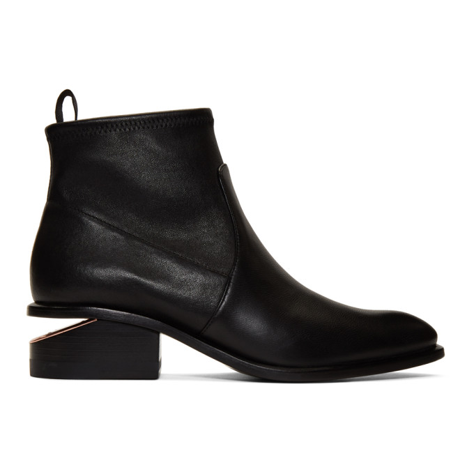 Alexander Wang Kori Strech Low Heels Ankle Boots In Black Leather And Fabric In 542 Burgund