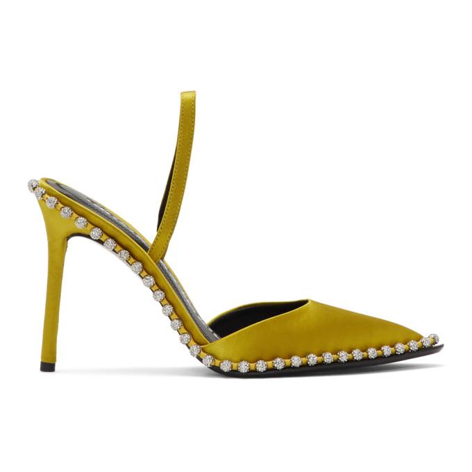 Buy Alexander Wang Yellow Satin Rina Crystal Heels online