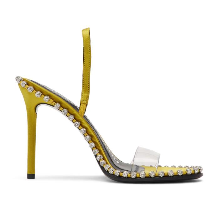 Buy Alexander Wang Yellow Satin Nova Crystal Sandals online