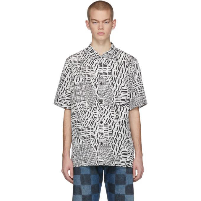 Alexander Wang Chemise a manches courtes et logo en soie noire et blanche