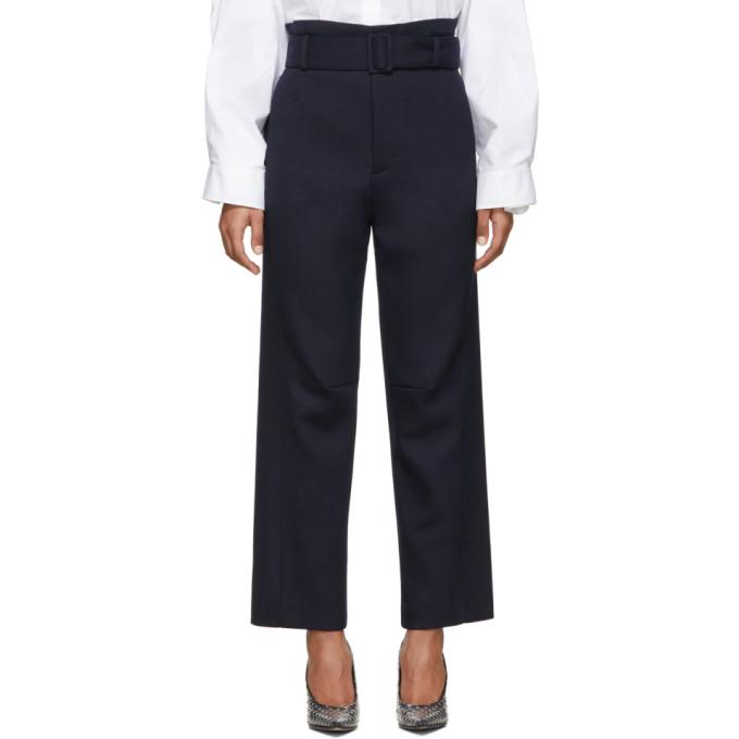 MM6 Maison Margiela Pantalon a ceinture bleu marine Paperbag