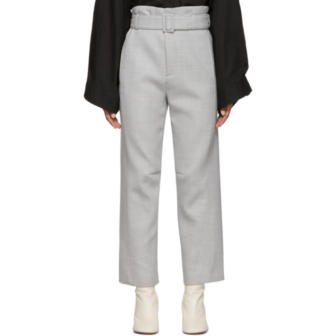 MM6 Maison Margiela Pantalon a ceinture gris Paperbag