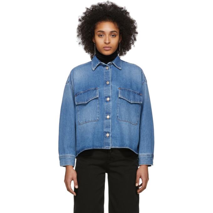MM6 Maison Margiela Chemise en denim bleue Double Pocket