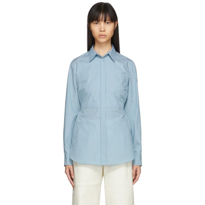 MM6 Maison Margiela Chemise en popeline rayee bleue Waist-Cinching Bib