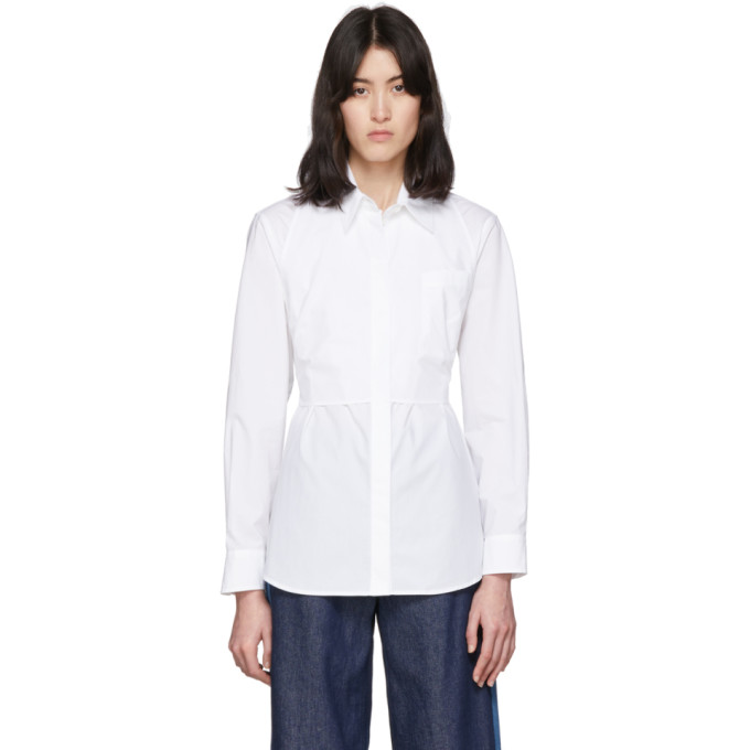 MM6 Maison Margiela Chemise blanche Waist Cinching Bib
