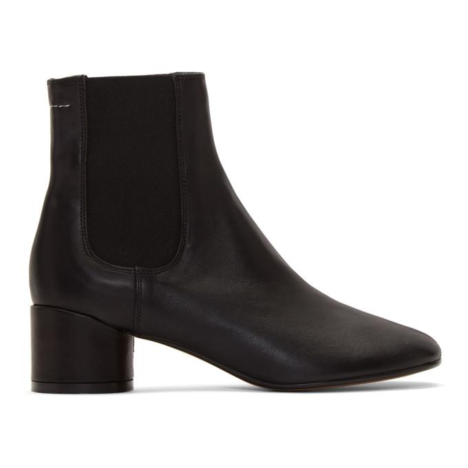 Buy MM6 Maison Margiela Black Pull-On Chelsea Boots online