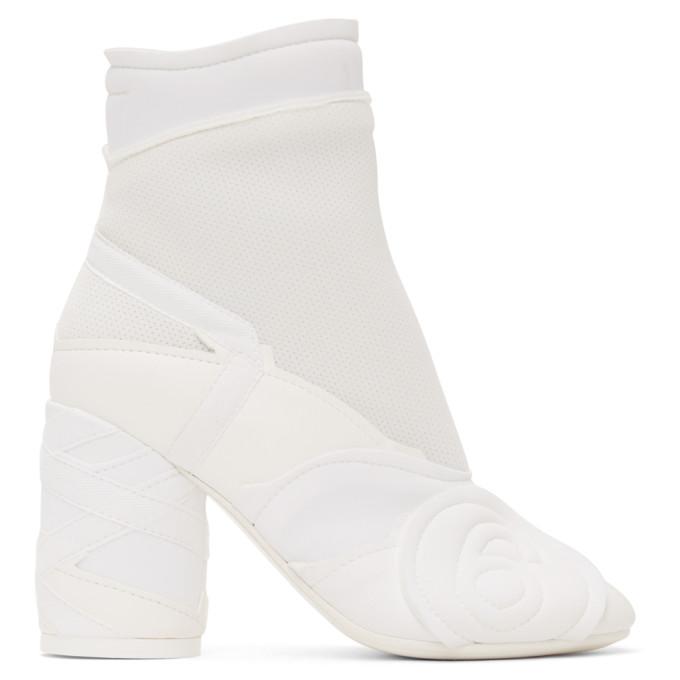 Buy MM6 Maison Margiela White Embossed Logo Ankle Boots online