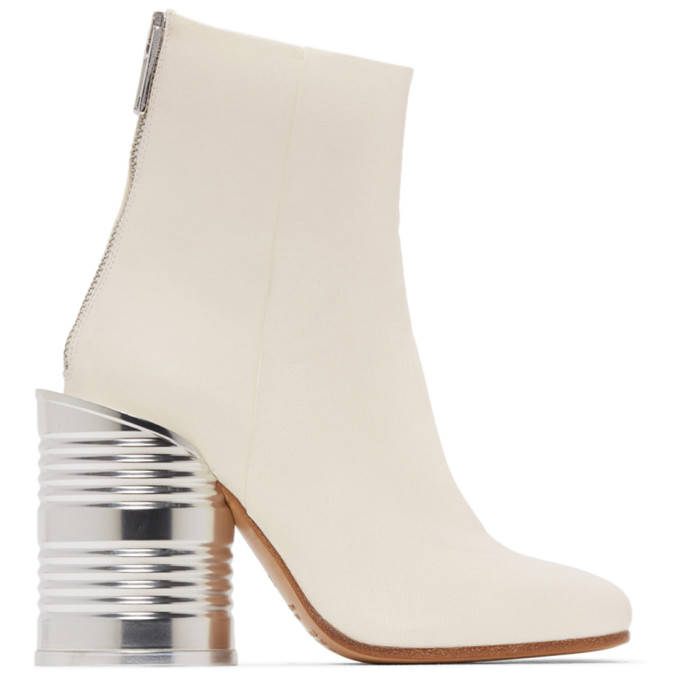 Buy MM6 Maison Margiela White Leather Can Heel Boots online