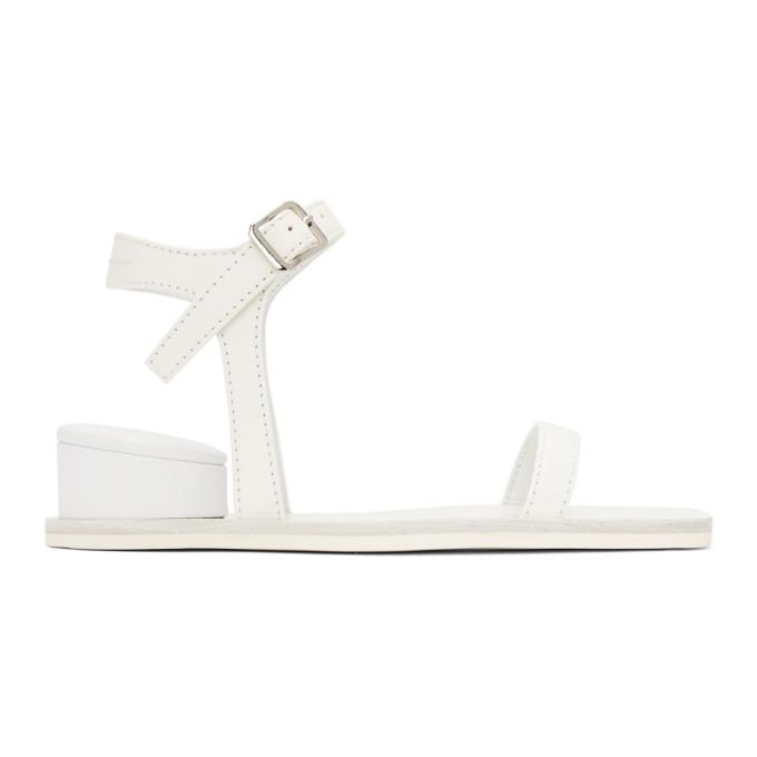 Buy MM6 Maison Margiela White Cushion Heel Sandals online