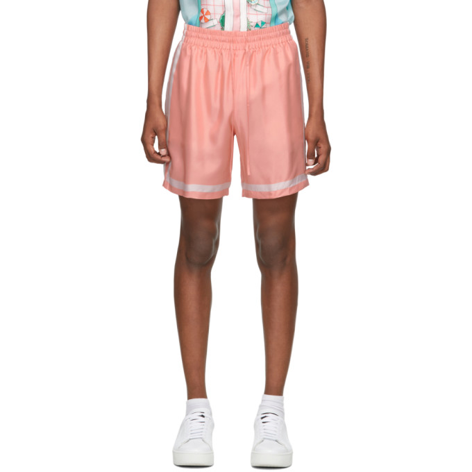 Casablanca Short en soie rose Tennis