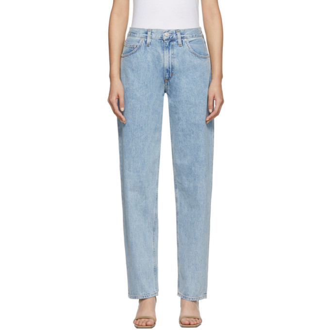 AGOLDE Jean plisse et surdimensionne a taille mi-haute bleu Baggy