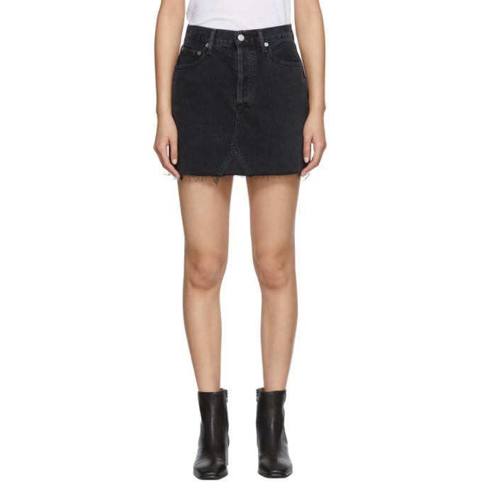 AGOLDE Mini-jupe en denim a taille haute noire Quinn