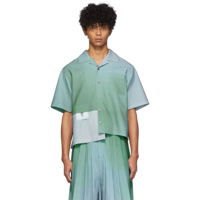 Keenkee Chemise a manches courtes bleue Gradient Panel